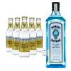 Bombay Sapphire London Dry Gin (40% Vol., 1,0 L) & 5 x Fever-Tree Premium Indian Tonic Water (0,2 L)
