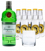 Tanqueray London Dry Gin (47,3 % Vol., 0,7 L) & 5x Th. Henry Tonic 0,2 L + 1 Glas