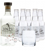 Jinzu Gin (41,3 % Vol., 0,7 L) & 5 x Gents Swiss Roots Tonic Water (0,2 L) + 1 Tumbler-Glas